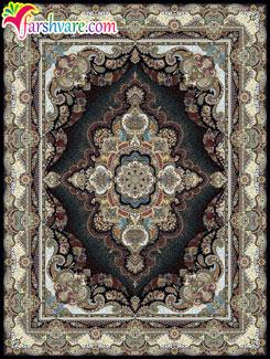 خرید اینترنتی فرش ماشینی کاشان ( فرش طرح ستاره رنگ سرمهای )