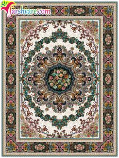 فرش ماشینی رنگ کرم - قالی طرح ایلیا (خرید اینترنتی فرش کاشان)