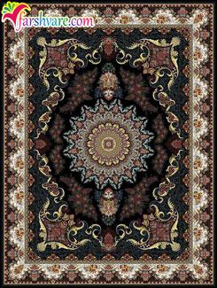 فرش ماشینی زمینه سرمه ای طرح نیایش - فروش آنلاین فرش کاشان