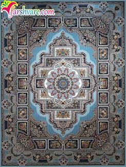 فرش ماشینی کاشان 1200 شانه - فرش رنگ آبی الماسی 1200 شانه