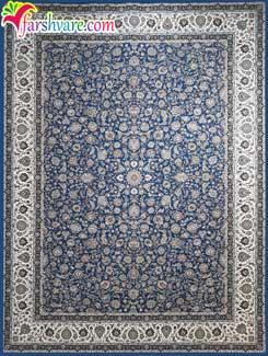 فرش کاشان طرح افشان با رنگ آبی کاربنی - فرش ماشینی 1200 شانه