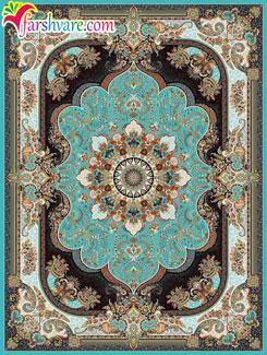 فرش کاشان 1000 شانه تراکم 3000 ( طرح نسترن آبی )، فرش ماشینی