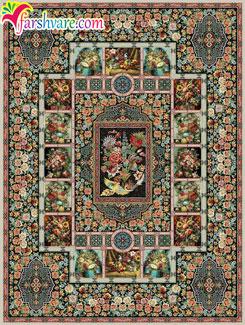 فروش فرش کاشان ؛ فروش آنلاین فرش ماشینی باغ ارم با رنگ موشی