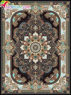 مدل فرش جدید ماشینی ( طرح نسترن سرمه ای )، فرش ماشینی کاشان