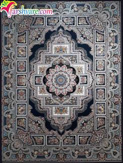 فرش کاشان ماشینی ، فرش سرمه ای ، فرش ماشینی کاشان با زمینهی سرمهای