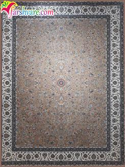 قالی کاشان طرح افشان ؛ فرش رنگ نسکافهای ؛ فرش کاشان 1200 شانه