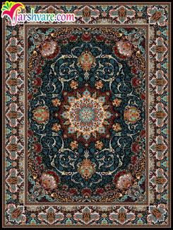 فرش سرمه ای ، فرش کاشان طرح مهرنوش ، خرید اینترنتی فرش ماشینی کاشان
