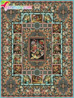 فرش طرح باغ ارم ، فرش ماشینی 1000 شانه طرح باغ ارم ، فرش کاشان باغ ارم آبی