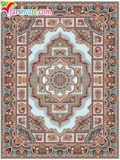 فرش طرح حوض نقره ای ، فرش ماشینی کاشان طرح حوض نقره با رنگ کرم