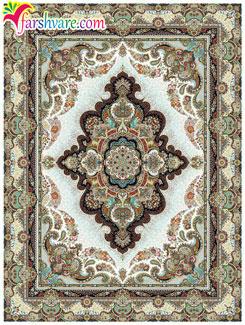 فرش ماشینی کرم رنگ ، فرش کاشان طرح ستاره ، خرید آنلاین فرش ماشینی کاشان