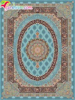 فرش کاشان طرح فلورانس رنگ آبی ، خرید فرش ماشینی 1000 شانه تراکم 3000