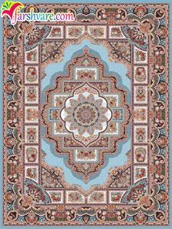 Iranian carpet of Hoze Noghre design, Persian carpet with blue color