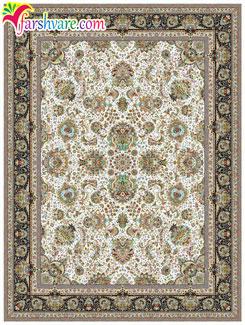 خرید فرش ماشینی کاشان از کارخانه - قالی طرح یاشار با رنگ زمینهی کرم