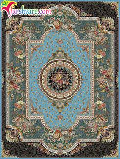 فرش طرح 700 شانه ماشینی کاشان - فرش ماشینی کاشان طرح رویا با زمینه آبی
