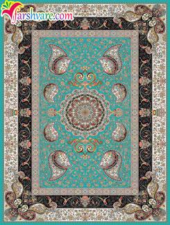 فرش ماشینی آبی - خرید آنلاین فرش کاشان با رنگ زمینهی آبی فیروزهای