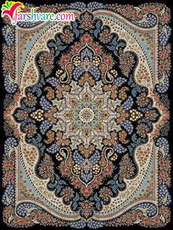 فرش ماشینی 700 شانه جدید طرح آروین با رنگ سرمه ای؛ فرش با تراکم 2550