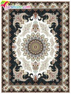 فرش هزار شانه کاشان - فروش اینترنتی فرش ماشینی کرم رنگ طرح نیایش