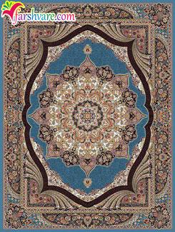 فرش کاشان طرح پارادایس آبی - فرش ماشینی طرح پارادایس 700 شانه تراکم 2550
