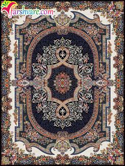 فرش کاشان 700 شانه - فرش ماشینی کاشان طرح محبت با رنگ زمینه سرمهای