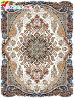 فرش 700 شانه ماشینی کاشان - قالی طرح آروین رنگ کرم با تراکم 2550