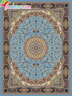 قالی ماشینی کاشان طرح گوهر افشان 700 شانه - فرش ماشینی آبی رنگ