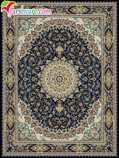 قالی کاشان 700 شانه - فرش ماشینی طرح گوهر با رنگ بندی سرمه ای