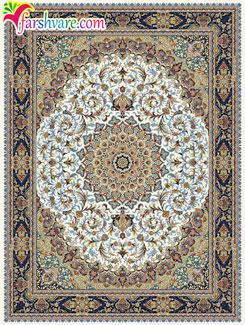 قالی 700 شانهی کاشان - فرش ماشینی طرح گوهر با رنگ زمینهی کرم