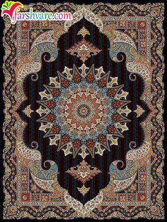 فرش زیبای ماشینی طرح پریماه سرمه ای ؛ خرید آنلاین فرش کاشان 700 شانه