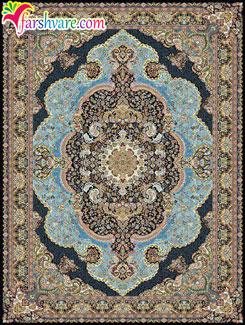 فرش شاندیز کاشان ؛ فرش ماشینی طرح شاندیز 700 شانهای زمینه آبی