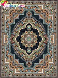 فرش طرح باغ معلق ماشینی کاشان ، خرید فرش سرمه ای کاشان از کارخانه