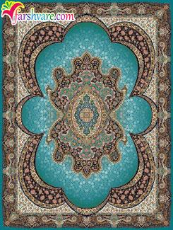 فرش ماشینی مهبد آبی ؛ فروش آنلاین فرش طرح مهبد 700 شانهی کاشان