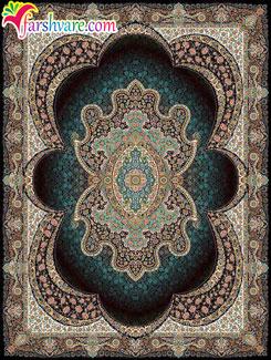 فرش کاشان طرح مهبد رنگ سرمهای ؛ خرید فرش ماشینی کاشان از کارخانه