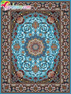 فرش 1000 شانه ماشینی طرح مهرنوش زمینه آبی ، فروش فرش کاشان از کارخانه