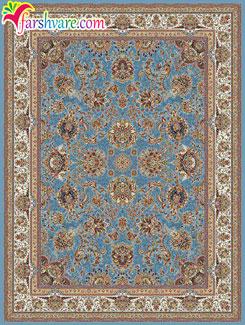 فرش 700 شانهای طرح یاشار با زمینهی آبی - خرید فرش ماشینی مستقیم از کارخانه