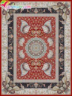 Iranian room carpet of Vesal design , Persian carpet with red color