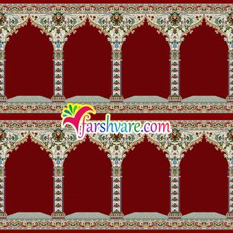 خرید اینترنتی سجاده فرش مسجد کاشان مستقیم از کارخانه رنگ قرمز طرح نسترن
