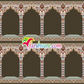 خرید اینترنتی فرش نمازخانه ای مستقیم از کارخانه با رنگبندی قهوهای طرح نسترن