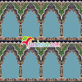سجاده فرش آبی طرح محتشم کاشان ؛ خرید سجاده فرش مسجد مستقیم از کارخانه