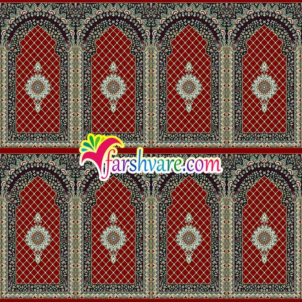 سجاده فرش برای مسجد فرش طرح کرمان رنگ قرمز