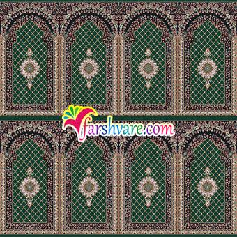 فرش سجادهای محرابی برای نمازخانه رنگ سبز یشمی طرح کرمان