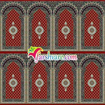 فرش محرابی برای نمازخانه رنگ قرمز روناسی طرح کرمان