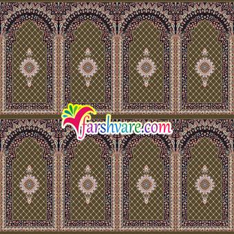 فرش محرابی برای نمازخانه سجاده فرش طرح کرمان قهوهای