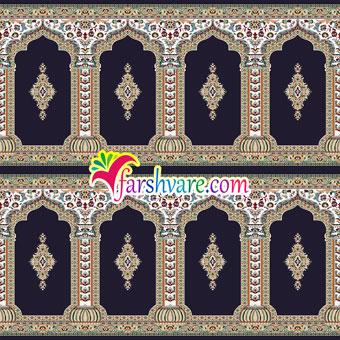 فرش محرابی مسجد طرح رضوان ؛ خرید اینترنتی سجاده فرش کاشان مستقیم از کارخانه