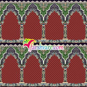 فرش مسجد قرمز طرح محتشم کاشان ؛ خرید فرش سجادهای مسجد مستقیم از کارخانه