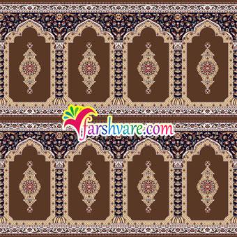فرش نمازخانه ای کاشان با رنگ زمینه قهوهای ؛ فرش نماز ماشینی طرح ثریا