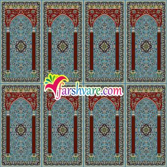 سجاده فرش ستاره کویر کاشان ؛ فرش سجاده ای محرابی با رنگ زمینهی آبی