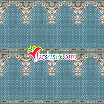 فرش ماشینی سجاده ای طرح ثامن رنگ آبی فیروزهای