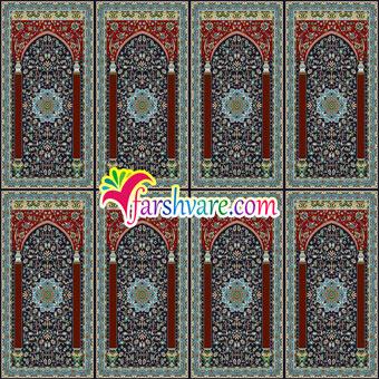 فرش محرابی ستاره کویر کاشان ؛ فرش سجاده ای مسجد با رنگ زمینهی سرمه ای