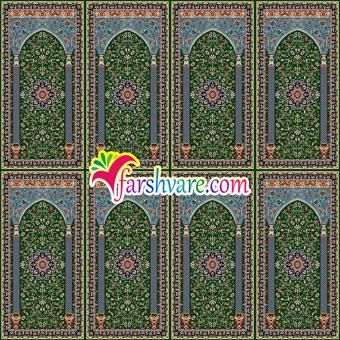 فرش محرابی سجاده ای سبز رنگ طرح ستاره کویر کاشان