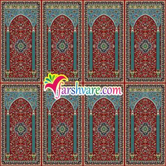 فرش مسجد ستاره کویر کاشان ؛ سجاده فرش محرابی با رنگ زمینهی قرمز روناسی